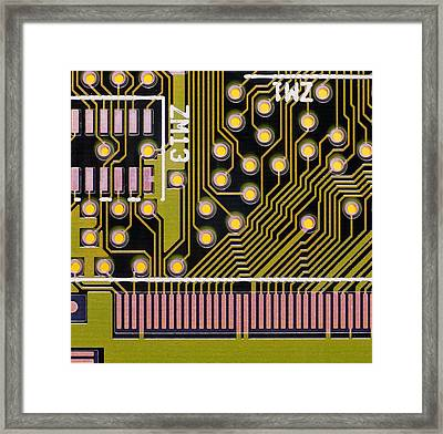 Macrophotograph Of A Circuit Board Framed Print by Dr Jeremy Burgess