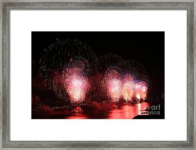 Macy's Fireworks On The Hudson Framed Print by Living Color Photography Lorraine Lynch