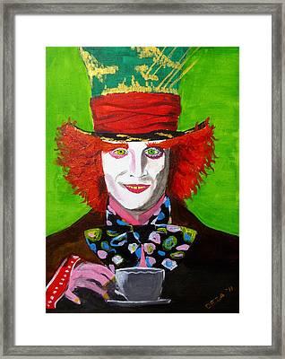 Mad Hatter Framed Print by Deza Villanueva