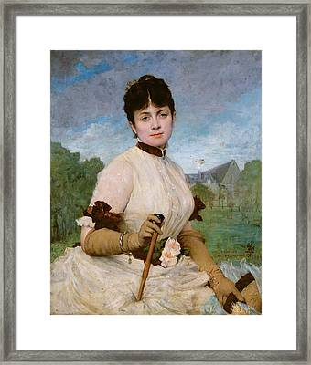 Madame Marie Toulmouche Framed Print by Jules Elie Delaunay