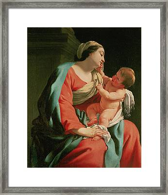 Madonna And Child Framed Print by Simon Vouet