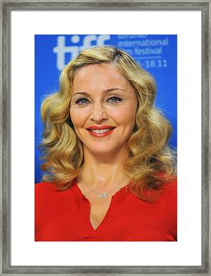 Madonna At The Press Conference Framed Print by Everett
