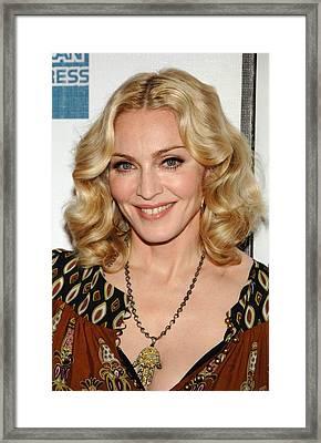 Madonna Wearing A Gucci Dress Framed Print by Everett
