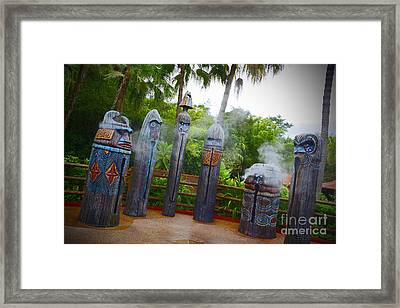 Magic Kingdom - Tiki Statues Framed Print by AK Photography