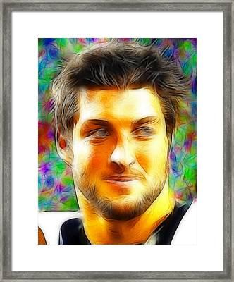 Magical Tim Tebow Face Framed Print by Paul Van Scott