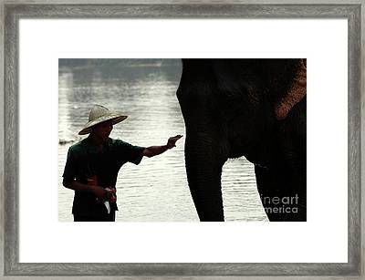 Mahut With Elephant Framed Print by Bob Christopher