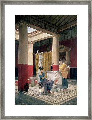 Maidens In A Classical Interior Framed Print by Luigi Bazzani