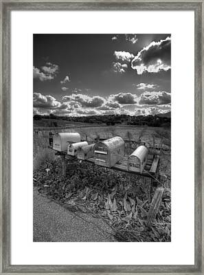 Mailboxes - Black  And White Framed Print by Peter Tellone