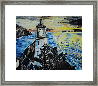 Maine Lighthouse Framed Print by Michelle Hand