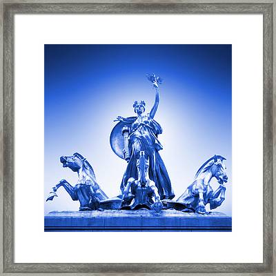 Maine Monument  In Blue Framed Print by Mike McGlothlen