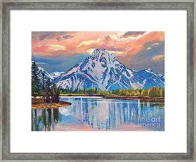Majestic Blue Mountain Reflections Framed Print by David Lloyd Glover