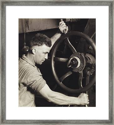 Making Auto Tires Framed Print by LW Hine