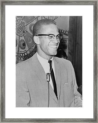 Malcolm X 1925-1965 Speaking In 1964 Framed Print by Everett
