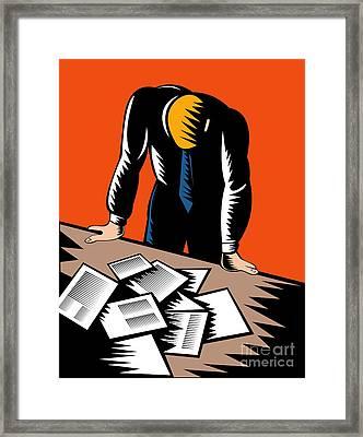 Male Worker Depressed Unemployed Framed Print by Aloysius Patrimonio