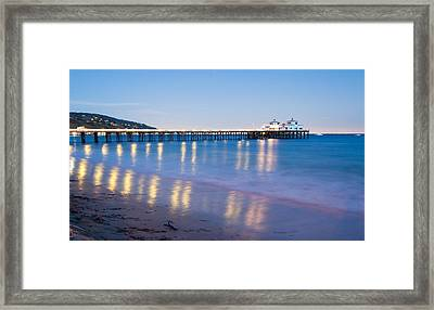 Malibu Pier Reflections Framed Print by Adam Pender