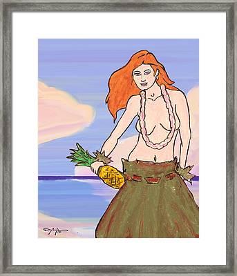 Maluhia Hula Girl Framed Print by William Depaula