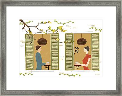 Man And Woman Drinking Coffee View From Window Framed Print by Eastnine Inc.