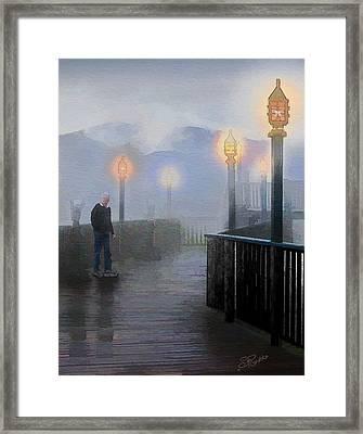 Man In A Fog Framed Print by Suni Roveto