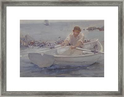 Man In A Rowing Boat Framed Print by Henry Scott Tuke