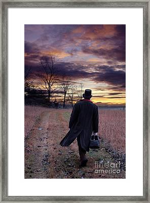 Man In Top Hat With Bag Walking Framed Print by Jill Battaglia
