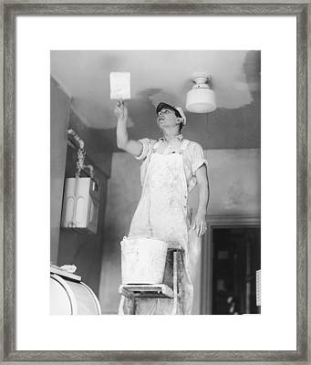 Man Painting Ceiling, (b&w) Framed Print by George Marks