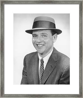 Man Wearing Hat, Posing In Studio, (b&w), Portrait Framed Print by George Marks