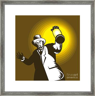 Man Wearing Top Hat And Holding Lantern Framed Print by Aloysius Patrimonio