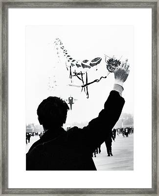 Man With A Kite Framed Print by Linde Townsend