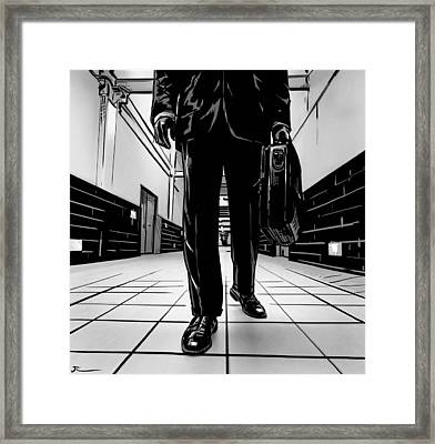 Man With Briefcase Framed Print by Giuseppe Cristiano