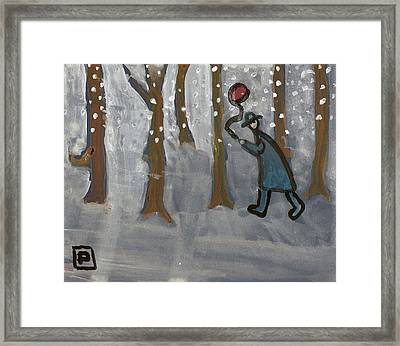 Man With Red Balloon Framed Print by Peter  McPartlin