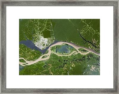 Manaus, Satellite Image Framed Print by Planetobserver