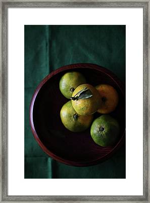 Mandarin Orange In Wooden Bowl Framed Print by © Miss Snail All right reserved