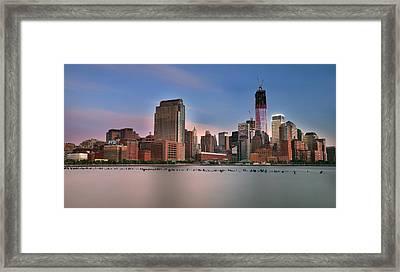 Manhattan Skyline Framed Print by Larry Marshall