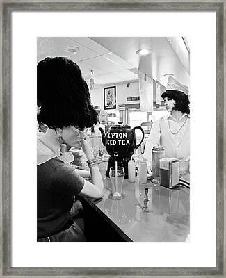 Mannequins At Peggy Sues 50's Diner Framed Print by Julie Niemela