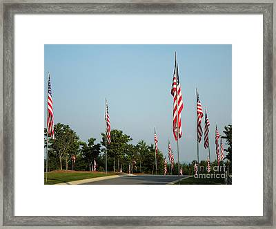 Many American Flags Framed Print by Renee Trenholm