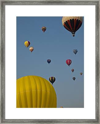 Many People Lift Off In Hot Air Framed Print by Stacy Gold