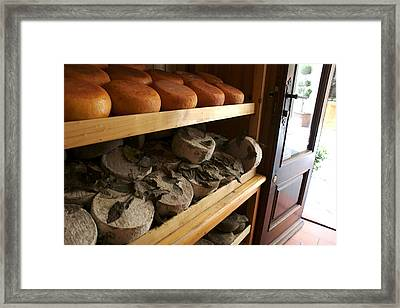 Many Varieties Of Pecorino Cheese Line Framed Print by Heather Perry
