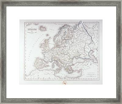 Map Of Europe Framed Print by Fototeca Storica Nazionale