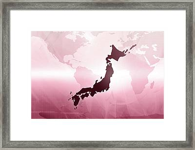Map Of Japan Framed Print by Maciej Frolow