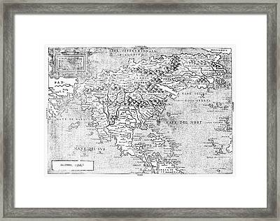 Map Of New France, 1566 Framed Print by Granger