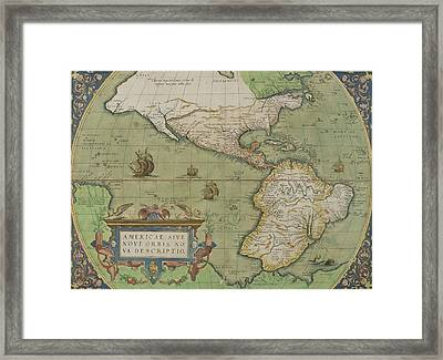 Map Of North And South America Framed Print by Abraham Ortelius