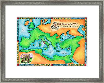 Map Of The Roman Empire Framed Print by Jennifer Thermes