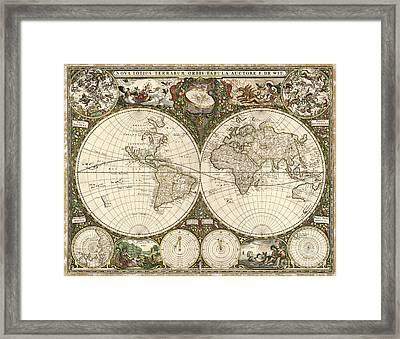 Map Of The World, 1660 Framed Print by Photo Researchers
