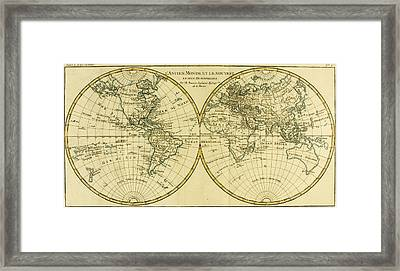 Map Of The World In Two Hemispheres Framed Print by Guillaume Raynal