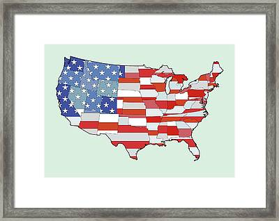 Map Of United States Of America Depicting Stars And Stripes Flag Framed Print by Atomic Imagery