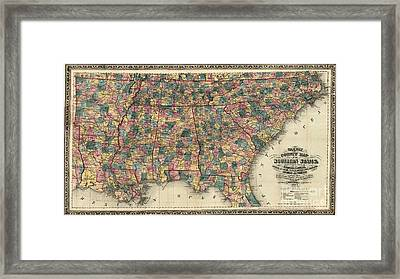 Map: Railroad, 1864 Framed Print by Granger