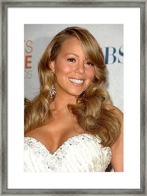 Mariah Carey In The Press Room Framed Print by Everett