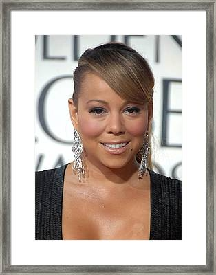 Mariah Carey Wearing Chopard Earrings Framed Print by Everett