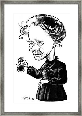 Marie Curie, Caricature Framed Print by Gary Brown