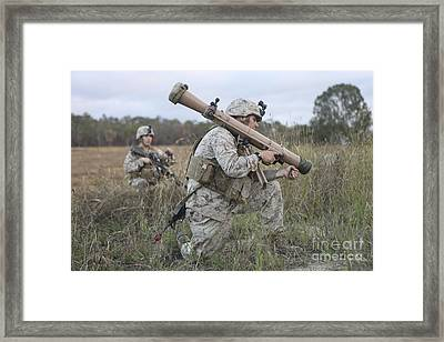 Marines Conduct A Simulated Attack Framed Print by Stocktrek Images